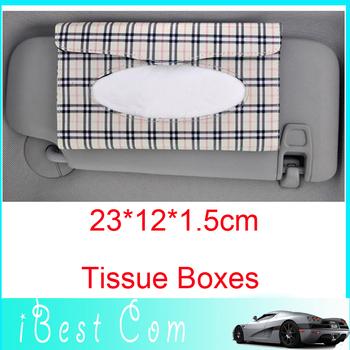 Drop shipping Checked fabric car sunshading board Tissue Boxes /facial tissue sun visor box for car wholesale