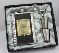 Lead-free  8oz Jack danniles  stainless steel hip flask with  free  funnel + 4 shot glass in black gift box