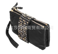 Korean Style PU Leather fashion Handbag designer Rivet Lady wallet Clutch Purse Evening Bag drop shipping 4004