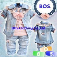 2014 spring autumn suit Free shipping,baby girls fashion denim clothing set toddler's lace 3 pcs clothes set(coat+t-shirt+pants)
