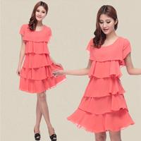 2014 new women's chiffon Short sleeve cake dress women summer plus size layered dresses slim free shipping