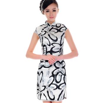 Elegant girl 2013 faux silk elastic satin cheongsam summer vintage chinese style
