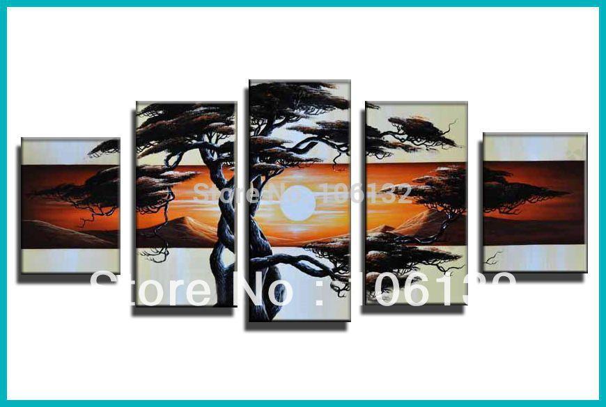 Koop ingelijste 5 panel grote high end geweldige eigentijdse zonsondergang muur - Eigentijdse high end tapijten ...