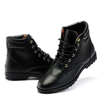 Spring male boots the trend of male fashion high-top shoes skateboarding shoes casual leather shoes martin boots black