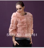 2013 three quarter sleeve faux fur coat short design imitation mink patchwork overcoat outerwear 3 colors