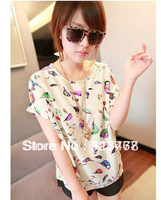 Womens Blouses Fashion 2013 Hot Sale New Women Colorful Birds Chiffon T shirt Batwing Loose Blouse Tee Tops