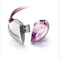 Wholesale NEW heart shape crystal 1GB 2GB 4GB 8GB 16GB 32GB USB 2.0 Memory Stick Flash Drive, free shipping