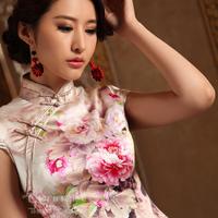 Goldband peony elegant vintage heavy silk wedding cheongsam fashion cheongsam dress summer fashion