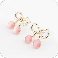 E83  cherry  - eye stud earring free shipping (Min order $10 mixed order)