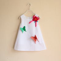 Free shipping new fashion 2013 summer korean children's clothing baby girl embroidery princess vest dresses