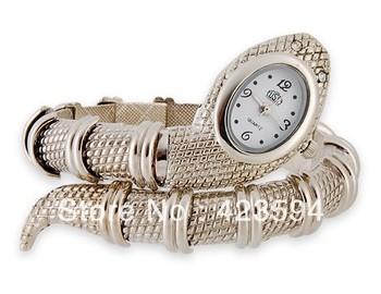 en forma de serpiente pulsera reloj mujer( plata)
