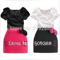 New Arrival Child Clothing Gilrs Dress Suit Bowknot Decor Hello Kitty Print T-Shirt Dress  5pcs Free Shipping