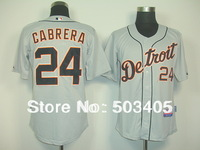 baseball jerseys Detroit Tigers #24 CARBRERA grey jerseys,mix order,stitched logos