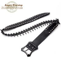 The trend of the bullet kongery single genuine leather belt punk cowhide belt heavy metal