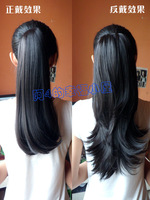 Kanekalon Fiber Hair Kanekalon Fiber Hair   made Ponytail wig long curly hair wig piece dual clip-on pear roll horseshoers 35cm