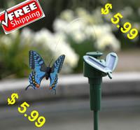 2pcs /lot Solar flying butterfly Solar fluttering solar flying fluttering butterfly Solar butterfly garden stake FREE SHIPPING