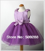 Summer New Arrival Branded Fashion Children Girl Princess Lace Dress Bow Purple Color Layered dresses Girl's Evening Dress