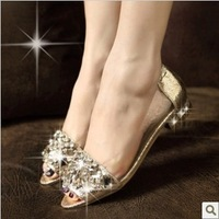 Free shipping, flat heel fashion pointed toe shoes rubber sole flat sandals open toe shoe shoes rhinestone sandals pointed toe
