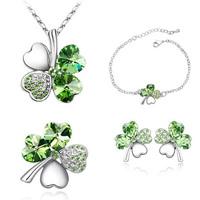 Crystal four leaf clover necklace set stud earring bracelet brooch jewelry set piece set