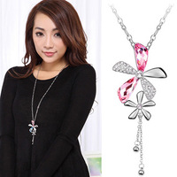 Long design necklace clothes accessories crystal necklace 1157