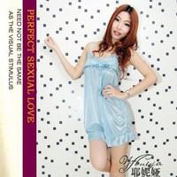 Free shipping Genuine Yeni Ya Sexy Lingerie Sexy elegant blue satin nightgown