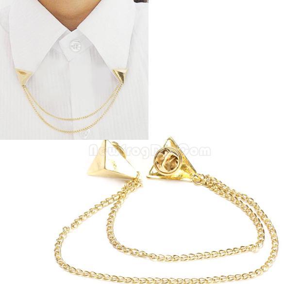 Hot Spike Stud Blouse Shirts Collar Neck Tip Brooch Pin Chain Punk NI5L(China (Mainland))