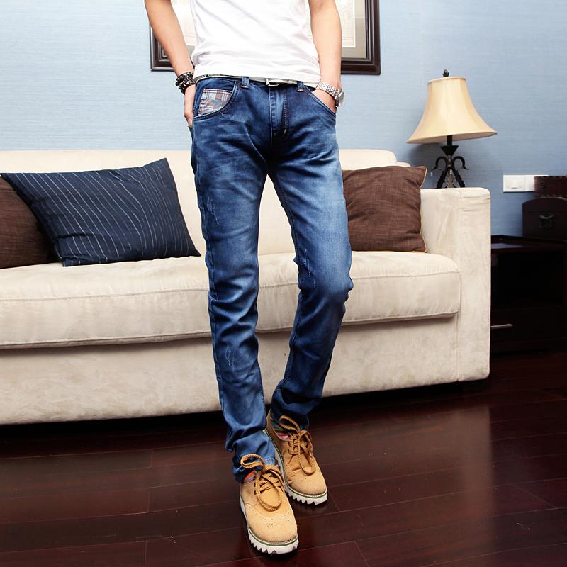 Slim skinny jeans Water wash American flag design Denim blue Korean