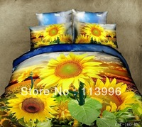 shining sunflowers foral 3d printed duvet quilt cover sheet pillowcases set 4pc cotton bedding set queen size bed in a bag