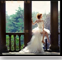 2012 bride wedding dress train wedding dress low-high train wedding dress