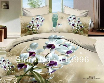 lady orchid flowers active printing twill 100% cotton duvet doona cover sheet shams sets 4 Piece bedding set bedroom bed linen
