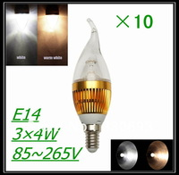 10 Pcs/lot E14 3w 6w 9w 12w Cool/Warm white High Power Bridgelux LED Bulb Lamp Candle Light Energy Saving,Free Shipping