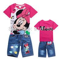 Wholesale 6 sets/lot girls cartoon Minnie Mouse summer clothing set kids t-shirt+shorts jeans 2pcs set