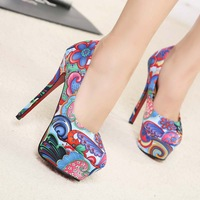 Flower shoes cloth symphony stiletto shoes multicolour women's shoes 2014 new autumn pumps for women fashion hot sale