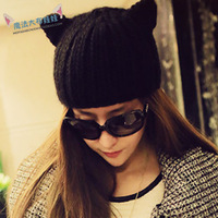 Kaki book winter devil horn cat ears cap knitted hat  women new sping 2014 hat Women's Beanies