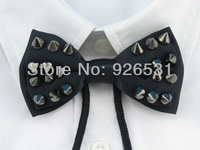 Yibo 2014 New men's fashion black ribbon bow tie England international popular metallic tie
