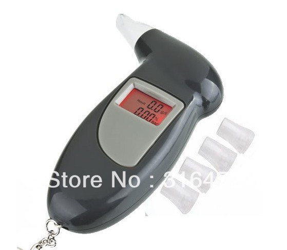 Free Shipping, keychain Alcohol Tester Breathalyzer Alcohol Detector with red Backlight LCD display & 5 Mouthpieces(China (Mainland))