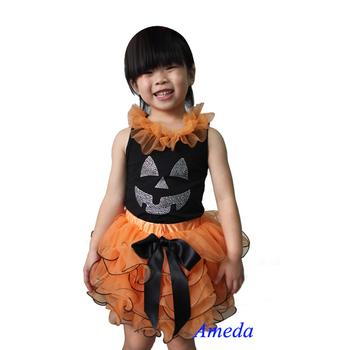 2 Piece Set - Halloween Orange Black Petal Pettiskirt Pumpkin Face Rhinestone Black Tank Top Party Dress 1-7Y