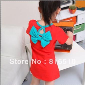Baby Girls Sundress Kids Clothing Toddlers Pocket Casual Slim Dresses  4 Pcs/ Lot
