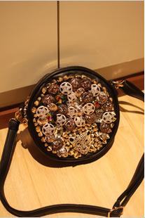 2013mymao women's lactophrys rhinestone handbag leopard head button rivets bag messenger bag(China (Mainland))