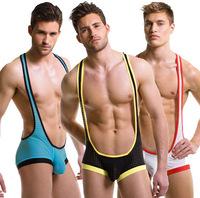 Man's underwear boxer shorts net male jumpsuit sexy silky mesh breathable vest bodysuit free shipping brand  wj7106