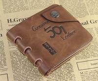 Genuine Leather Bevel buckle Men's Purse Card Holders Short-Length Wallets Men's Vintage Wallrt For Men Free Shipping !