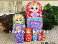 Russian matryoshka dolls imported riches and honour flowers beauty matryoshka dolls best basswood 7 layer Free shipping