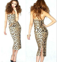 2013 spring and summer new European style full dress leopard dress chest wrapped dress free shipping