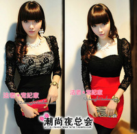 Hot selling new one-piece dress elegant long-sleeve slim hip slim ol female lace skirt