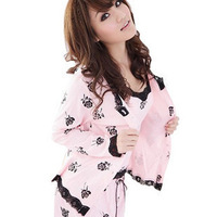 Free Shipping Spring and Autumn Women's Long Sleeve Cotton Casual Small Flower Bed Clothes Set