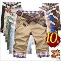 Summer plaid pants lovers male capris male breeched capris male slim casual pants