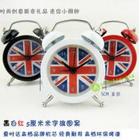 Mini metal alarm clock m word flag british style novelty alarm clock star movement  (Free shipping)