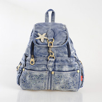 Women Backpack For Middle School Students New 2014 Women's Double-shoulder Bags Rhinestones Denim Travel