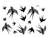 2013 New Tattoo sticker,D-106 swallow bird design tattoo sticker, 100pcs  Wholesale ,Free shipping
