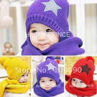 PROMOTION!Free shipping!hot children hat 100%Cotton baby cap children hat+scarf two piece set Toddler Boys & Girls Hats